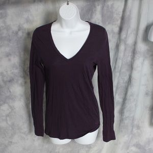 J. Crew purple long sleeve V-neck top